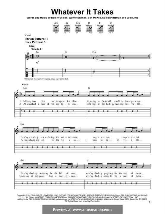 Whatever It Takes (Imagine Dragons): Para guitarra com guia by Benjamin McKee, Daniel Reynolds, Joel Little, Daniel Platzman, Wayne Sermon