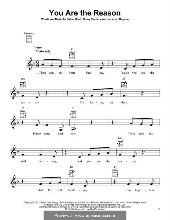 You are the Reason: para ukulele by Calum Scott, Corey Sanders, Jonathan Maguire