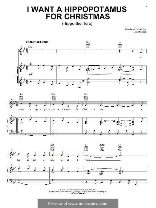 I Want a Hippopotamus for Christmas (Hippo the Hero): Para vocais e piano (ou Guitarra) by John Rox