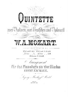 String Quintet No.6 in E Flat Major, K.614: arranjos para piano de quatro mãos by Wolfgang Amadeus Mozart