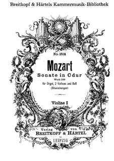 Church Sonata for Two Violins, Organ and Basso Continuo No.15 in C Major, K.328 (317c): violino parte I by Wolfgang Amadeus Mozart