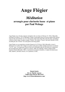 Méditation: For bass clarinet and piano by Ange Flégier