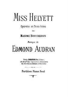 Miss Helyett: arranjo para piano by Edmond Audran