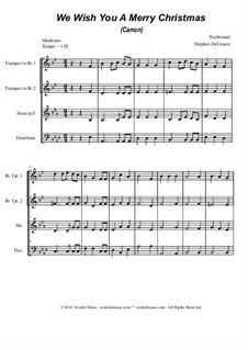 We Wish You a Merry Christmas: For brass quartet (canon) by folklore