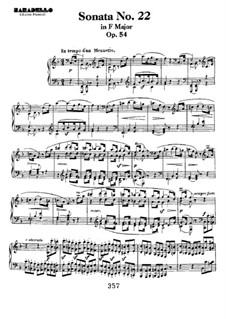 Sonata for Piano No.22, Op.54: para um único musico (Editado por H. Bulow) by Ludwig van Beethoven