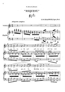Three Little Songs, Op.11: No.1 Request by George Whitefield Chadwick