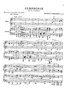 Symphony in B Flat Major, Op.20: arranjos para piano de quatro mãos by Ernest Chausson