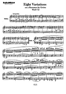 Eight Variations on Theme from 'Richard Coeur-de-lion' by Grétry, WoO 72: Para Piano by Ludwig van Beethoven
