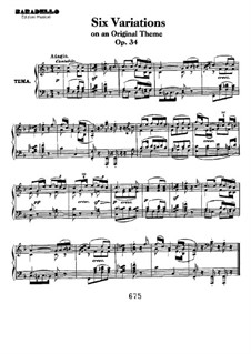 Six Variations on a Swiss Song, Op.34: Para Piano by Ludwig van Beethoven