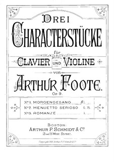Three Character Pieces for Violin and Piano, Op.9: Parte de solo by Arthur Foote