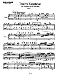 Twelve Variations on Russian Dance from 'Das Waldmädchen' by P. Wranitzky, WoO 71: Para Piano by Ludwig van Beethoven