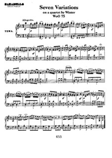 Seven Variations on Theme from 'Das unterbrochene Opferfest' by P. Winter , WoO 75: Para Piano by Ludwig van Beethoven
