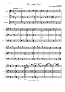 Coventry Carol: For double-reed trio (oboe, cor anglais, bassoon) by folklore