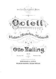 String Octet, Op.50: Partitura completa by Otto Malling