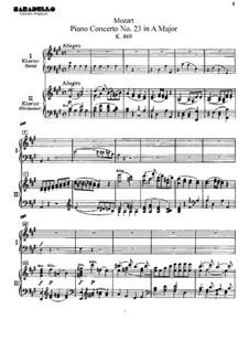 Concerto for Piano and Orchestra No.23 in A Major, K.488: arranjos para dois pianos de quatro mãos by Wolfgang Amadeus Mozart