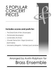 5 Popular Concert Pieces - brass ensemble / 10-piece book: 5 Popular Concert Pieces - brass ensemble / 10-piece book by Leoš Janáček, Camille Saint-Saëns, Modest Mussorgsky, folklore