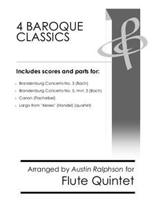 4 Baroque Classics: For flute ensemble or quintet bundle / book / pack by Johann Sebastian Bach, Georg Friedrich Händel, Johann Pachelbel