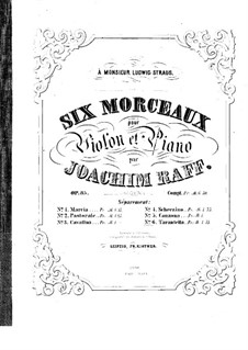 Six Pieces for Violin and Piano, Op.85: No.6 Tarantella – score by Joseph Joachim Raff