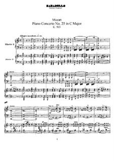 Concerto for Piano and Orchestra No.25 in C Major, K.503: arranjos para dois pianos de quatro mãos by Wolfgang Amadeus Mozart