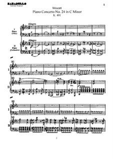 Concerto for Piano and Orchestra No.24 in C Minor, K.491: arranjos para dois pianos de quatro mãos by Wolfgang Amadeus Mozart