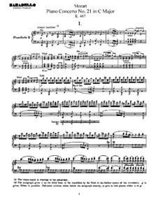 Concerto for Piano and Orchestra No.21 in C Major, K.467: arranjos para dois pianos de quatro mãos by Wolfgang Amadeus Mozart