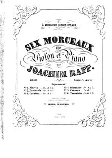 Six Pieces for Violin and Piano, Op.85: No.2 Pastorale – score by Joseph Joachim Raff