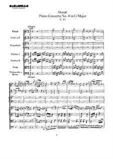 Concerto for Piano and Orchestra No.4 in G Major, K.41: partitura completa by Wolfgang Amadeus Mozart