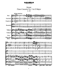 Concerto for Piano and Orchestra No.3 in D Major, K.40: partitura completa by Wolfgang Amadeus Mozart