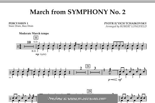 Movement II: Percussion 1 part by Pyotr Tchaikovsky