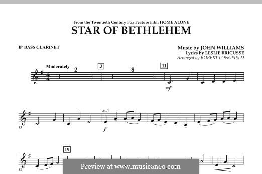 The Star of Bethlehem (from 'Home Alone'): Bb Bass Clarinet part by John Williams