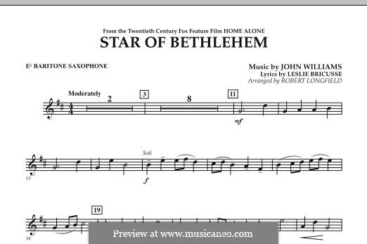 The Star of Bethlehem (from 'Home Alone'): Eb Baritone Saxophone part by John Williams