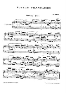 Suite No.1 in D Minor, BWV 812: Para Piano by Johann Sebastian Bach