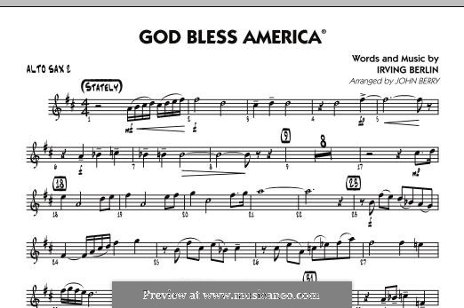 God Bless America: Alto Sax 2 part by Irving Berlin