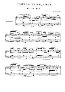 Suite No.2 in C Minor, BWV 813: Para Piano by Johann Sebastian Bach