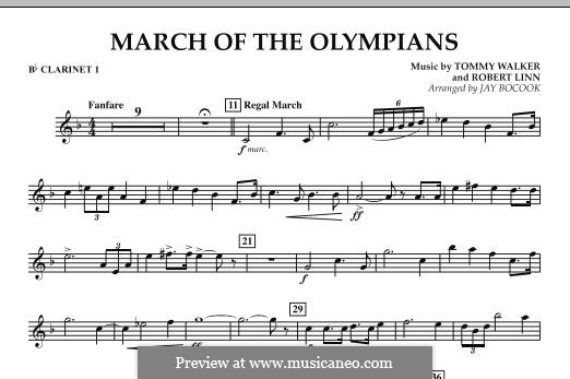 March of The Olympians: Bb Clarinet 1 part by Tommy Walker, Robert Linn