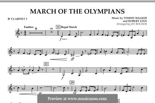 March of The Olympians: Bb Clarinet 3 part by Tommy Walker, Robert Linn