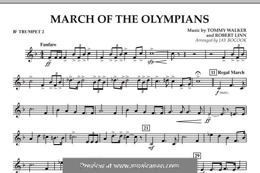 March of The Olympians: Bb Trumpet 2 part by Tommy Walker, Robert Linn