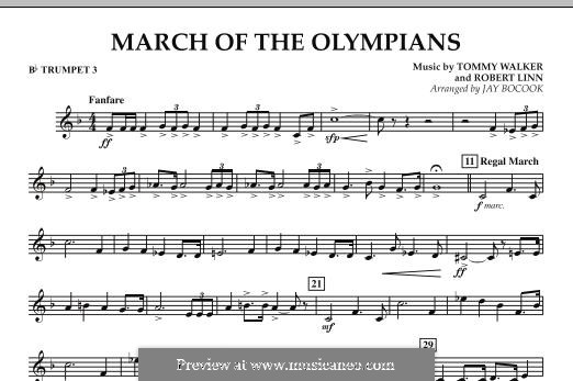 March of The Olympians: Bb Trumpet 3 part by Tommy Walker, Robert Linn