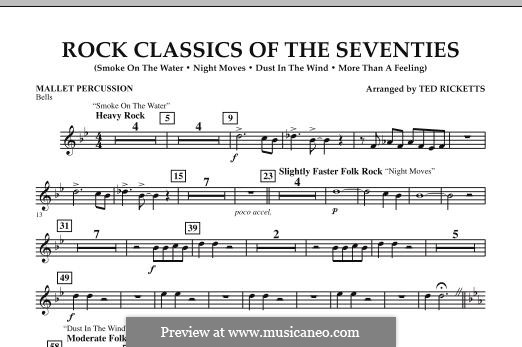 Rock Classics of The Seventies: Mallet Percussion part by Bob Seger, Ian Gillan, Ian Paice, Jon Lord, Kerry Livgren, Ritchie Blackmore, Roger Glover, Tom Scholz
