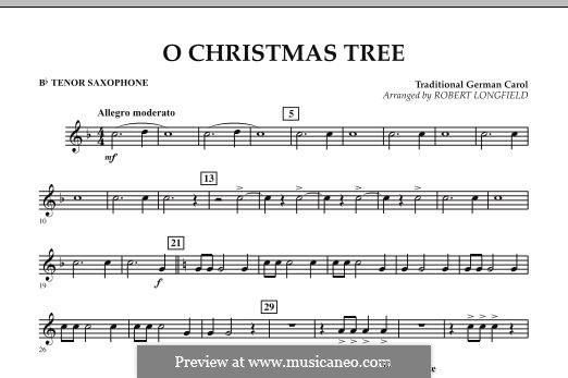 O Christmas Tree, for Orchestra: Bb Tenor Saxophone part by folklore