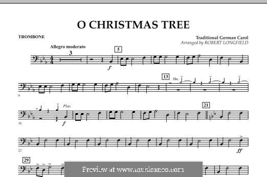 O Christmas Tree, for Orchestra: parte trombone by folklore