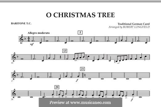 O Christmas Tree, for Orchestra: Baritone T.C. part by folklore