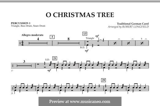 O Christmas Tree, for Orchestra: Percussion 1 part by folklore