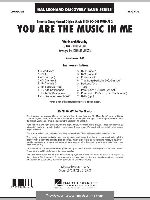You are the Music in Me (High School Musical 2): partitura completa by Jamie Houston