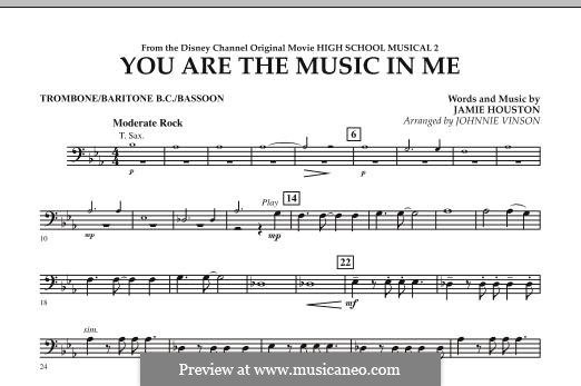 You are the Music in Me (High School Musical 2): Trombone / Baritone B.C. / Bassoon part by Jamie Houston