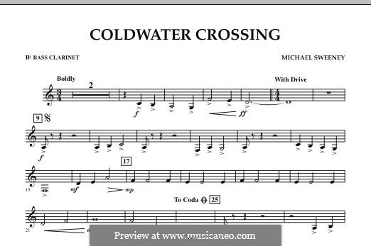 Coldwater Crossing: Bb Bass Clarinet part by Michael Sweeney