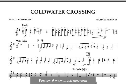 Coldwater Crossing: Eb Alto Saxophone part by Michael Sweeney