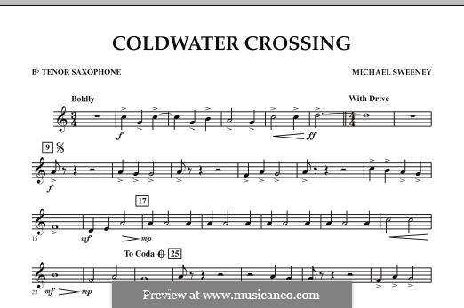 Coldwater Crossing: Bb Tenor Saxophone part by Michael Sweeney