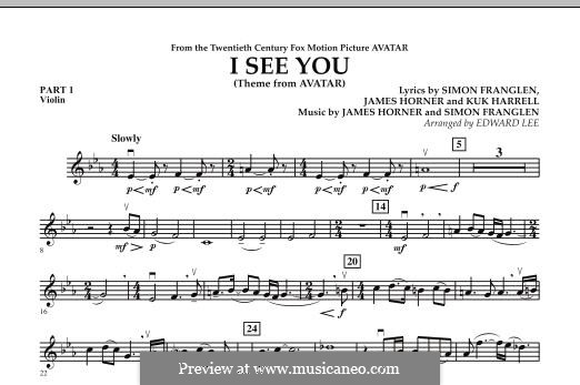 I See You (Theme from Avatar): Pt.1 - Violin part by James Horner, Simon Franglen