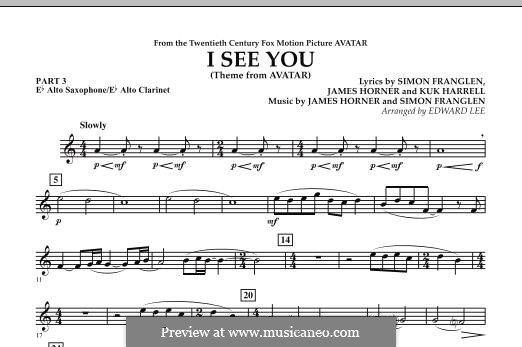 I See You (Theme from Avatar): Pt.3 - Eb Alto Sax / Alto Clar. part by James Horner, Simon Franglen